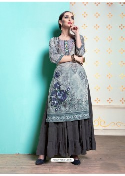 Grey Heavy Machalin Printed Hand Worked Kurti
