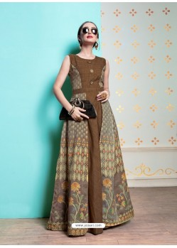Brown Heavy Machalin Printed Hand Worked Kurti