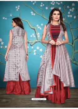 Red And Grey Heavy Machalin Printed Hand Worked Kurti