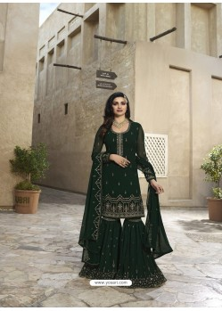 Dark Green Georgette Embroidered Designer Sarara Suit