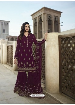 Purple Georgette Embroidered Designer Sarara Suit