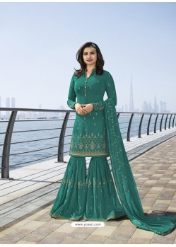 Teal Georgette Embroidered Designer Sarara Suit
