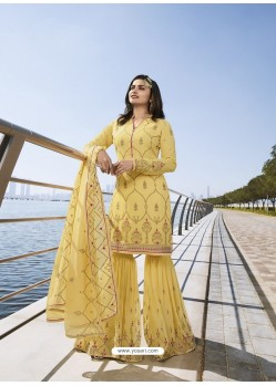 Yellow Georgette Embroidered Designer Sarara Suit