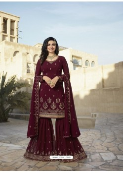 Maroon Georgette Embroidered Designer Sarara Suit