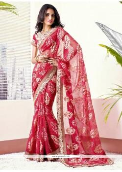 Charismatic Red Brasso Georgette Wedding Saree