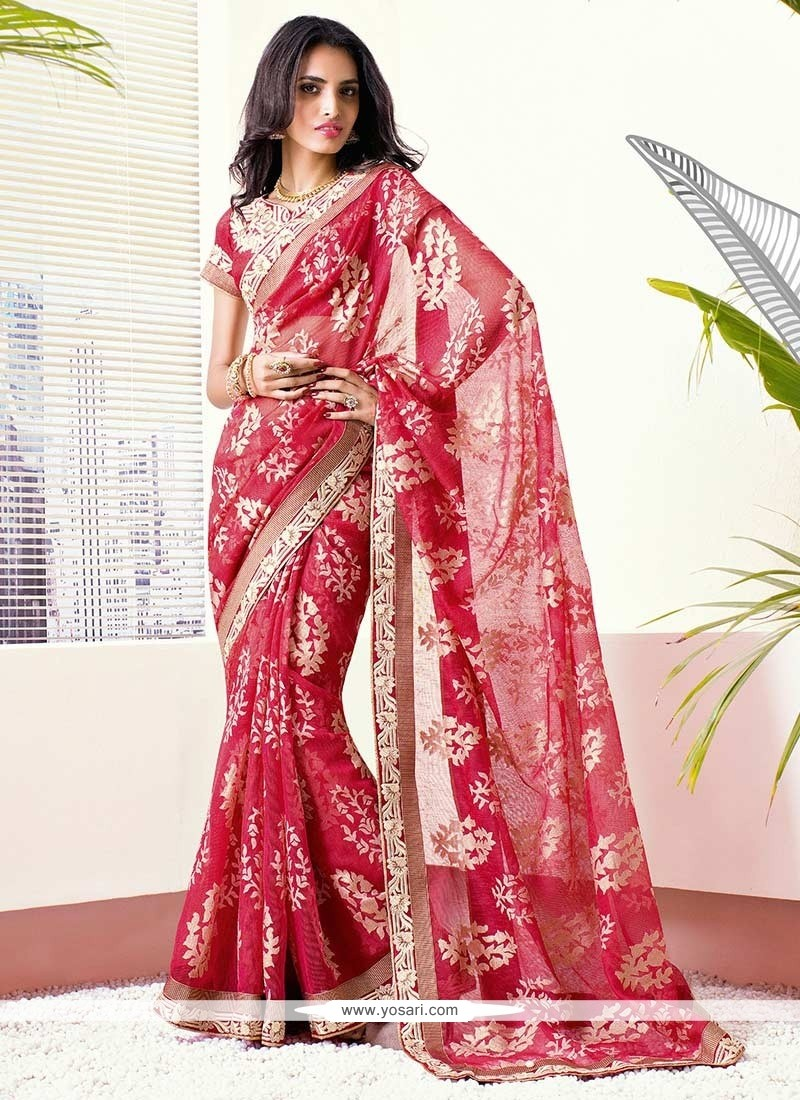 Charismatic Red Brasso Georgette Wedding Saree