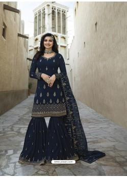 Navy Blue Georgette Embroidered Designer Sarara Suit