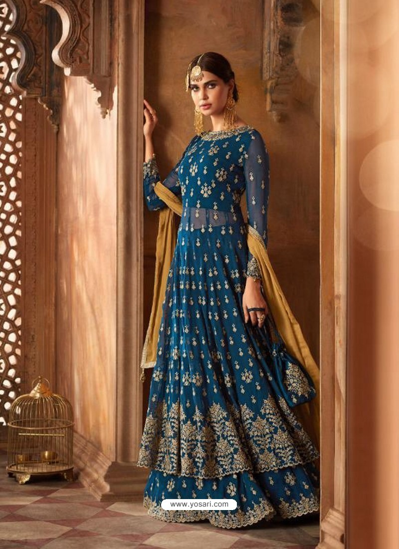916f1738a4 Buy Peacock Blue Georgette Zari Embroidered Designer Lehenga Style ...