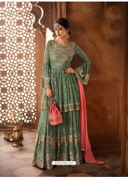 Grayish Green Georgette Zari Embroidered Designer Sarara Suit