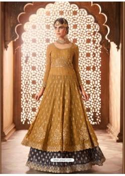 Mustard Georgette Zari Embroidered Designer Lehenga Style Suit