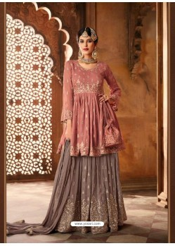 Old Rose Georgette Zari Embroidered Designer Sarara Suit