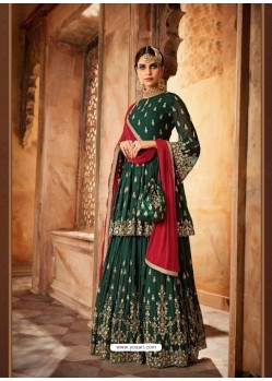 Dark Green Georgette Zari Embroidered Designer Sarara Suit