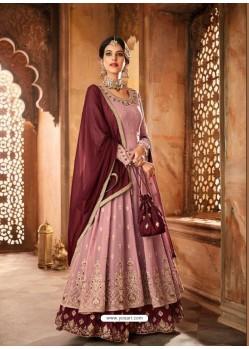 Pink Georgette Zari Embroidered Designer Lehenga Style Suit