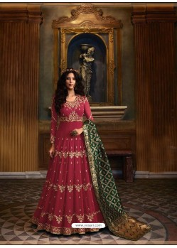 Maroon Faux Georgette Embroidered Designer Anarkali Suit