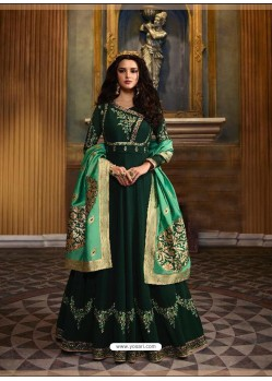 Dark Green Faux Georgette Embroidered Designer Anarkali Suit