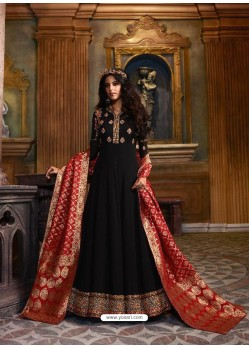 Black Faux Georgette Embroidered Designer Anarkali Suit