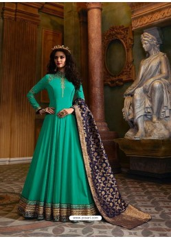 Aqua Mint Faux Georgette Embroidered Designer Anarkali Suit