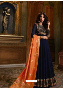 Navy Blue Faux Georgette Embroidered Designer Anarkali Suit