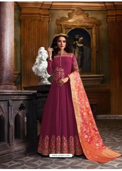 Purple Faux Georgette Embroidered Designer Anarkali Suit