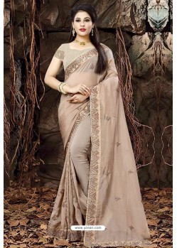 Taupe Linen Organza Embroidered Saree