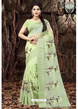 Green Organza Embroidered Saree
