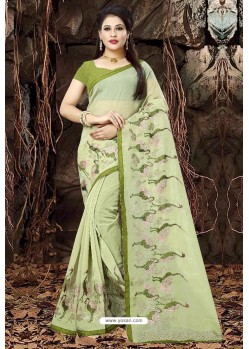 Mehendi Green Organza Embroidered Saree