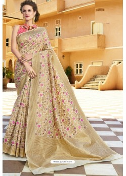 Light Beige Pure Weaving Designer Silk Saree