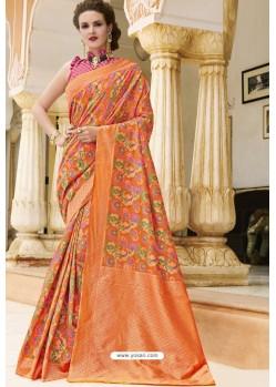 Orange Pure Weaving Designer Silk Saree
