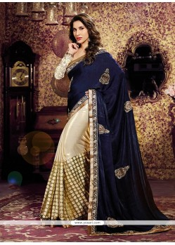 Navy Blue And Cream Chiffon And Velvet Designer Saree