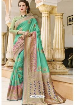 Jade Green Pure Weaving Designer Silk Saree