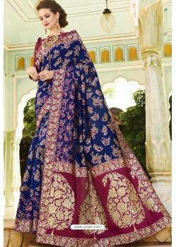 Navy Blue Pure Weaving Designer Silk Saree