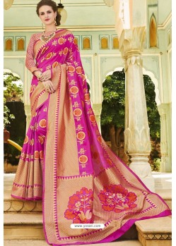 Magenta Pure Weaving Designer Silk Saree