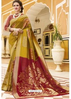 Marigold Pure Weaving Designer Silk Saree