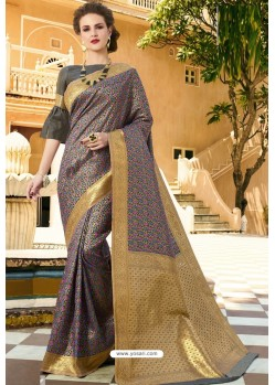 Carbon Pure Weaving Designer Silk Saree