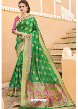 Forest Green Pure Weaving Designer Silk Saree