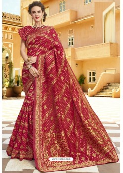 Red Pure Weaving Designer Silk Saree