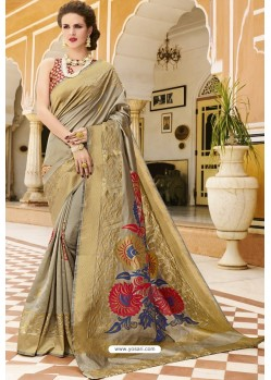 Taupe Pure Weaving Designer Silk Saree