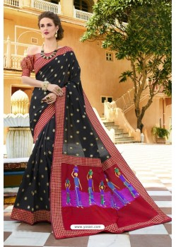 Black Pure Weaving Designer Silk Saree