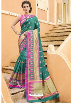 Teal Pure Weaving Designer Silk Saree