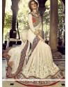 Dazzling Off White Bember Georgette Designer Saree