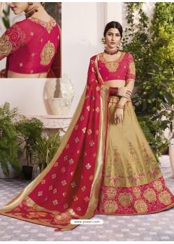 Gold And Crimson Raw Silk Stone Hand Worked Designer Lehenga Choli
