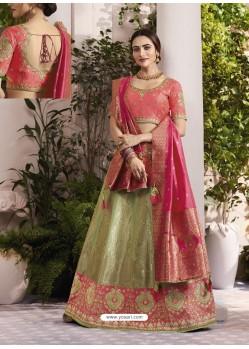 Green And Peach Raw Silk Stone Hand Worked Designer Lehenga Choli