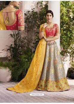 Grey And Yellow Raw Silk Stone Hand Worked Designer Lehenga Choli