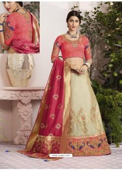 Gold And Peach Raw Silk Stone Hand Worked Designer Lehenga Choli