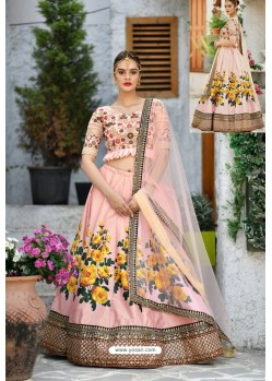 Peach Silk Sequins Embroidered Designer Lehenga Choli
