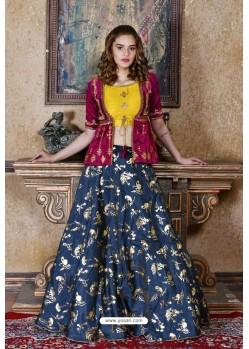 Navy And Maroon Silk Sequins Embroidered Designer Lehenga Choli