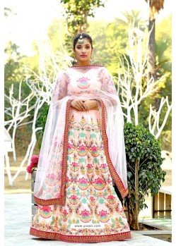 Baby Pink Silk Sequins Embroidered Designer Lehenga Choli