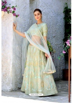 Sea Green Silk Sequins Embroidered Designer Lehenga Choli