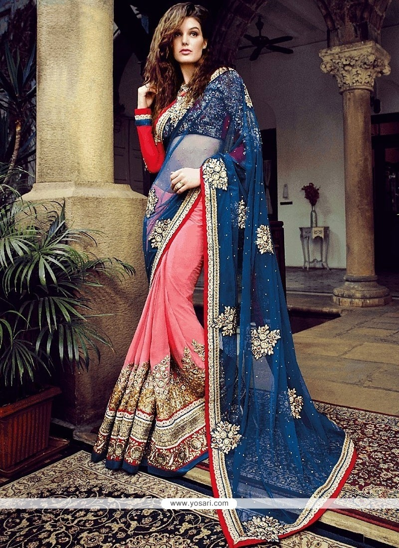 Pink And Blue Net And Bamber Georgette Saree
