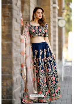 Navy Blue Silk Sequins Embroidered Designer Lehenga Choli